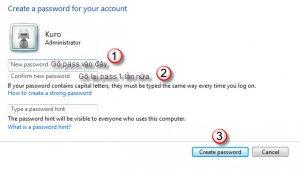 Cách đặt mật khẩu cho máy tính win 7 3
