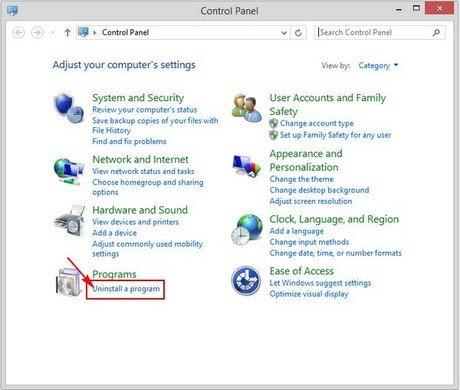 cách gỡ bỏ phần mềm trên máy tính win 8