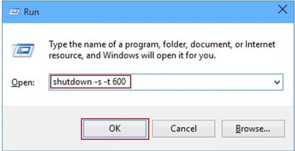 Hẹn giờ tắt máy tính win 10